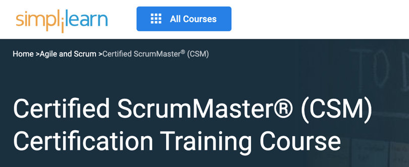 Image Best Simplilearn Courses - ScrumMaster Certification CSM