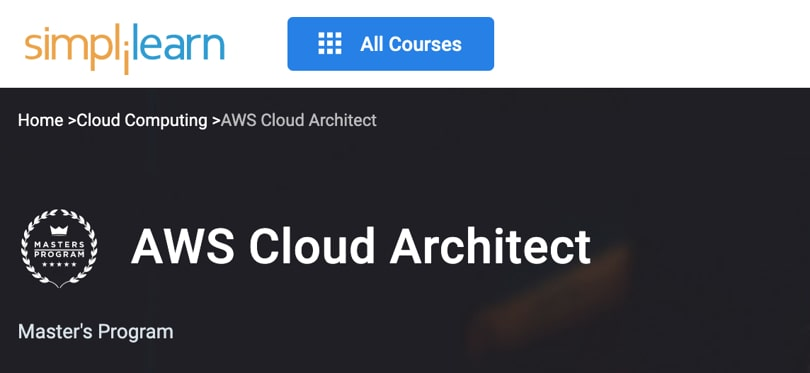 Image Best Simplilearn Courses and Masters - AWS Cloud Architect