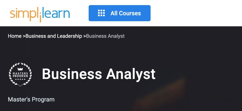 Image Best Simplilearn Courses and Masters - Business Analyst