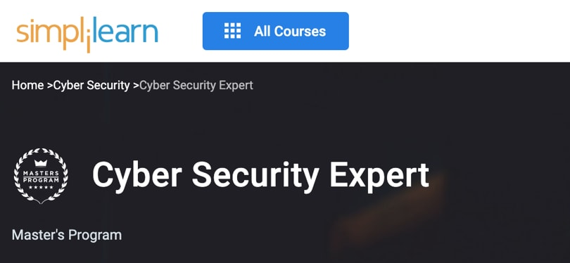 Image Best Simplilearn Courses and Masters - Cyber Security Expert
