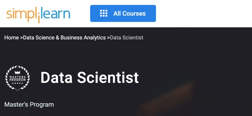 Image Best Simplilearn Courses and Masters - Data Scientist