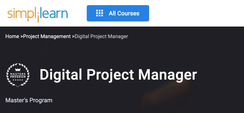 Image Best Simplilearn Courses and Masters - Digital Project Manager