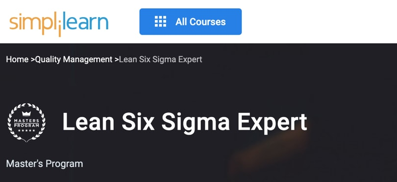 Image Best Simplilearn Courses and Masters - Lean Six Sigma Expert
