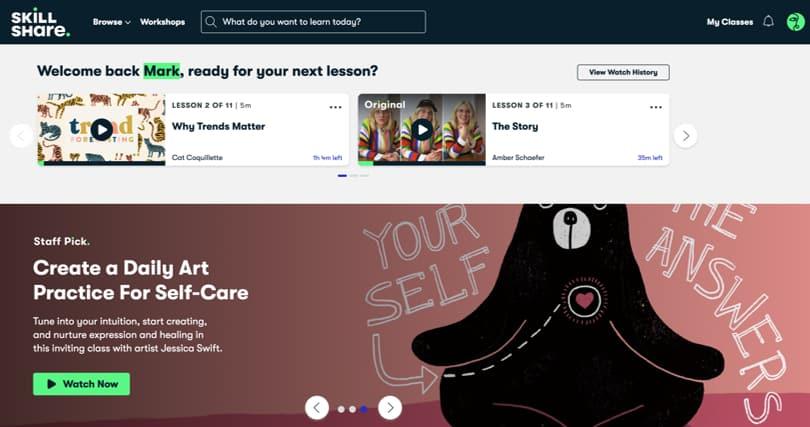 Image Skillshare Review - Screenshots - Dashboard