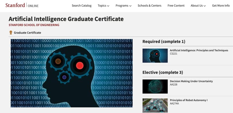 Image Best AI Courses - Artificial Intelligence Graduate Certificate Standford