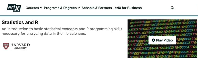 Image R Courses Online - Statistics and R, edX, Harvard