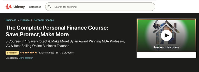 Image Personal Finance Courses - Udemy - Complete Personal Finance Course
