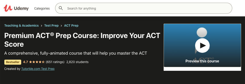 Image Udemy ACT Prep Courses - Online