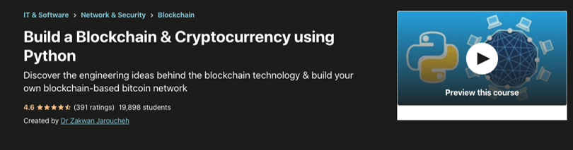 Image Udemy cryptocurrency course - Build a Blockhain and Cryptocurrency using Python