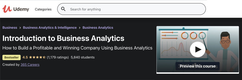 Image Business Analytics Courses - Udemy Introduction To Business Analytics