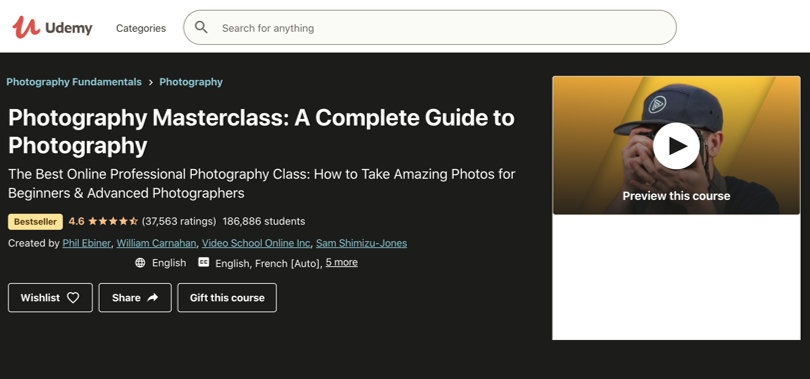 Image Best Photography Courses - Udemy Photography Masterclass