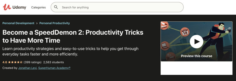 Image Best Productivity Courses - Udemy - Become a SpeedDemon