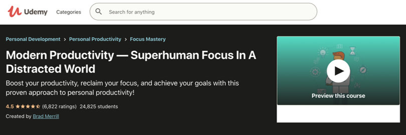 Image Best Productivity Courses - Udemy - Modern Productivity - Superhuman Focus