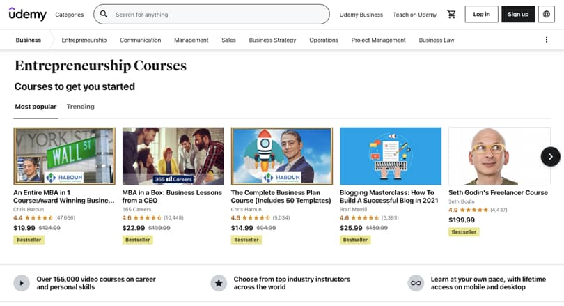 Image Udemy Review - Overview Category Page Navigation