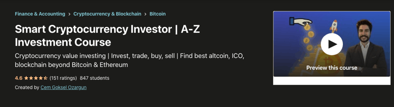 Image Udemy cryptocurrency course - Smart Cryptocurrency Investor