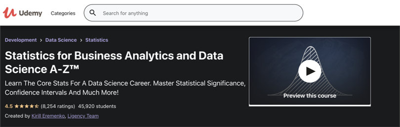 Image Business Analytics Courses - Udemy Statistics For Business Analytics