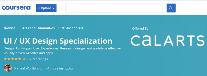 Image Best Graphic Design Courses - Coursera - UI/UX Design Specialization