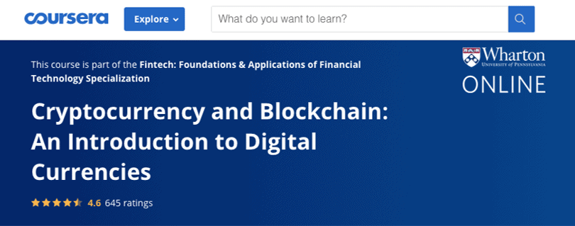 Image Cryptocurrency Course - Cryptocurrency and Blockchain - Wharton University, Coursera